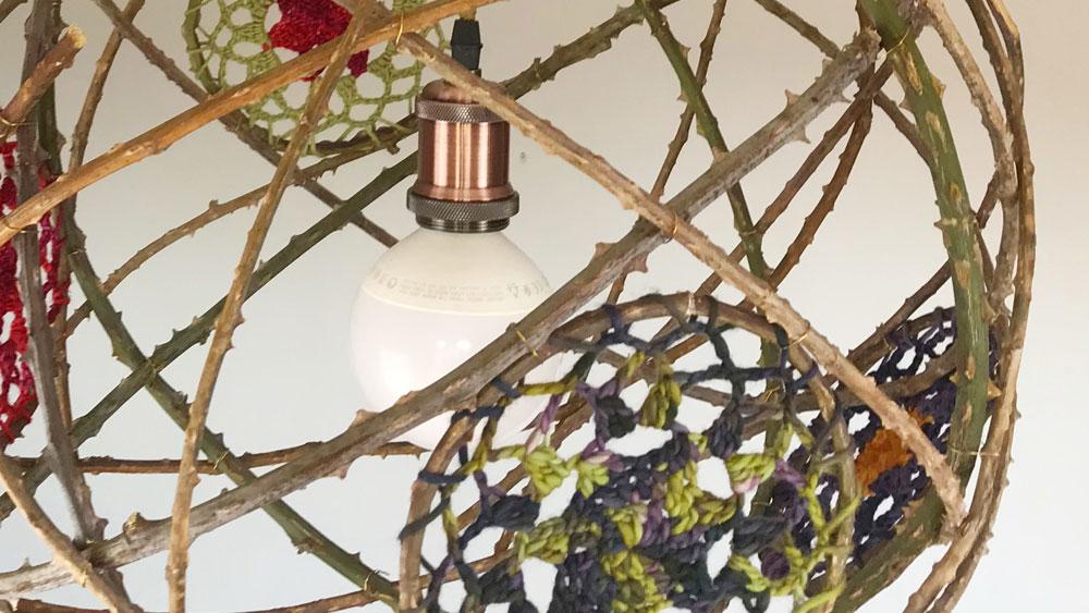 Zarza crocheted globe lightshade